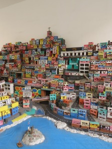 This model of the slums is made completely from bricks!